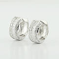 Luxury Cluster Princess 1.56CTW Diamond Ladies Fine 14k Huggie Hoop Earrings