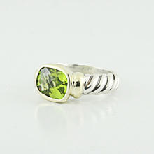 Designer David Yurman Sterling Silver 14K Cushion Green Peridot Cable Ring Band SZ 5.75