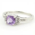 Modern Ladies 10K White Gold Amethyst Diamond 0.90CTW Right Hand Ring