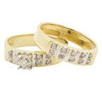Fine Estate Ladies 14K Yellow Gold Diamond 2PC Wedding Ring Set Duo