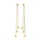 Modern  14K Yellow Gold Chandelier Bead Push Back Earrings