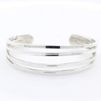 Ladies Vintage Retro Estate 925 Silver Cuff Bangle Bracelet