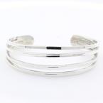 Ladies Vintage Retro Estate 925 Silver Cuff Bangle Bracelet