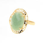 Estate Ladies 14K Yellow Gold Jade Cabochon 6.50CTW Greek Key Right Hand Cocktail Ring