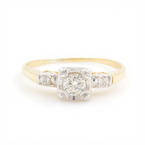 Vintage Classic Estate 14K Two Tone Gold Diamond Engagement Ring - 0.25CTW