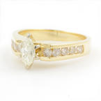 Classic Ladies 14K Yellow Gold Marquise Cut Diamond 0.90CTW Engagement Ring