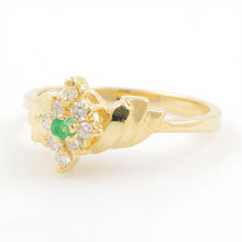 Classic Estate 14K Yellow Gold Emerald Diamond Bypass Right Hand Cocktail Ring