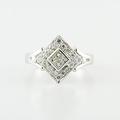 Custom Designed 14K White Gold Ladies Princes Cluster Round Diamond Ring Jewelry