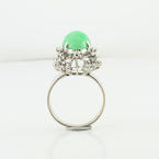 Collectable Large Oval Jade Cabochon Diamond Ladies 18K Fine White Gold Ring