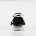 Art Deco Bow Engraved Gallery 14K White Gold Emerald Cut Flat Onyx Ladies