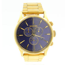 Men's Nixon Never Relate The Sentry Chrono Blue Dial Gold Tone Band Watch