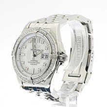 Authentic Breitling Windrider Cockpit Steel Mother of Pearl Diamond Watch A49350
