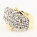 Classic Estate Ladies 10K Yellow Gold Diamond Cluster Cathedral Ring - 0.85CTW