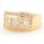 Estate Men's 14K Yellow Gold Diamond 0.97CTW Three Stone Ring