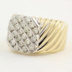Mens Estate 14K Yellow Gold Diamond 1.54CTW Ring Jewelry