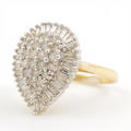 Ladies Vintage Classic Estate 10K Yellow Gold Diamond Cocktail Ring - 1.00CTW
