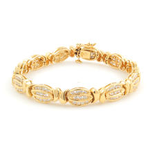 Classic Ladies Vintage Estate 14K Yellow Gold Diamond 2.58CTW 7 Inch Bracelet