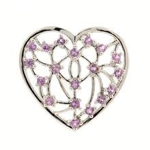 Lovely Ladies 14K White Gold Pink Topaz 0.50CTW Heart Slide Pendant Jewelry