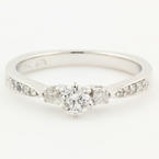 Modern Ladies 14K White Gold Three Stone Diamond Engagement Ring - 0.50CTW - NEW