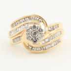 Estate Ladies 10K Yellow Gold Diamond 1.35CTW Bypass Rosita Right Hand Ring