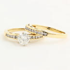Classic Modern 14K Yellow Gold Brilliant Round Cut Diamond Wedding Ring Duo Set