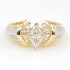 Exquisite Ladies 14K Yellow White Gold Diamond 0.90CTW Right Hand Ring Jewelry