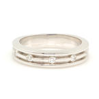 Stylish Modern Men's 18K White Gold Diamond Ring Band - 0.15CTW - NEW