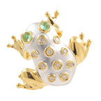 Modern 14K Yellow 20MM Frog Diamond Emerald 0.35CTW Pin Brooch