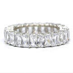 Estate 925 Silver White Emerald Cut Colorless Zirconia Eternity Ring Band Size 9