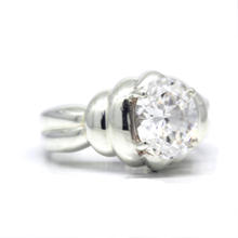 Estate Ladies 925 Silver White Colorless Zirconia Oval Cocktail Ring Size 7