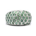 Estate Ladies 925 Silver Emerald 3.45CTW Cocktail Ring Band Size 6.75