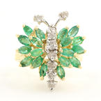 Charming Ladies 14K Yellow Gold Butterfly Emerald Diamond Right Hand Ring
