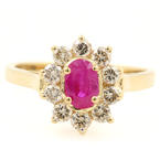 Vintage Retro Estate 14K Yellow Gold Ruby Diamond 0.95CTW Right Hand Ring