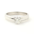 Classic Ladies 14K White Gold Brilliant Cut Diamond Solitaire Engagement Ring