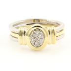 Modern Ladies 14K Two Tone White Yellow Gold Diamond 0.15CTW Rope Wire Right Hand Ring