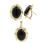 Classic Ladies 14K Yellow Gold Onyx 18.90CT Greek Key Two Piece Jewelry Set