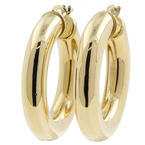 Classic 14K Yellow Gold Smooth High Polished Hollow Hoop Earrings