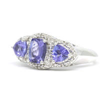 Modern Estate 925 Silver Iolite Diamond 1.98CTW Right Hand Cocktail Ring