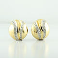 Retro 14K Yellow Gold Pave Set Diamond Dome Shape Earrings Made In Italy