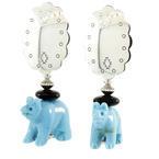 Estate Ladies 925 Sterling Silver Bear Push Back Earrings