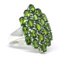 Estate 925 Silver Green Quartz Oval Cut Gemstone Right Hand Ring Size 9 1/2