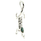 Estate 925 Sterling Silver Lizard Turquoise 55MM Slide Pendant