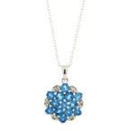 "Estate Silver Ladies 925 Blue Tourmaline Pendant Ring 18"" Chain Necklace Set"