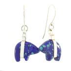 Estate Ladies 925 Sterling Silver Bear Fish Hook Back Earrings