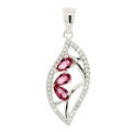 Estate Ladies 925 Silver Pink White Zirconia 35MM Pendant