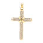 Vintage Classic Estate 14K Yellow Gold Cross Diamond Pendant - 2.10CTW