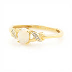 Classic Ladies 10K Yellow Gold Opal Diamond 0.20CTW Cocktail Right Hand Ring