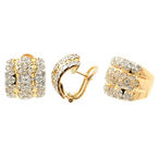 Vintage 14K Yellow Gold Diamond 2.00CTW 2PC Ring Earrings Jewelry Set