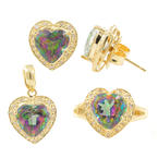 Modern 14K Yellow Gold Mystic Topaz Heart Ladies Ring Earrings Pendant Set