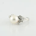 White South Sea Lustrous Pearl Diamond Accents Cocktail Platinum Jewelry Ring